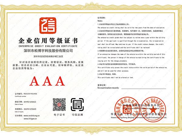 松博宇-企业信用等级证书